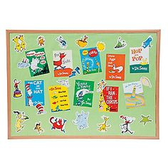 Dr. Seuss™ Favorite Books Mini Bulletin Board Set - $8 from oriental trading company - could use to create two picture boards to show the twins throught the 1st year and one board could have a big Thing 1 cutout and of course Luke's name and then the other Thing 2 cut out and Toby!  Of course these would be used with pictures to decorate the poster boards.