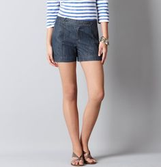 Cotton Seamed Denim Shorts with 4 in Inseam from Ann Taylor's The Loft