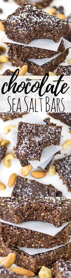 Chocolate Sea Salt Energy Bars feature a protein-packed assortments of cashews, almonds, dates, cocoa powder and let's not forget Sea Salt! Perfect healthy treat that tastes like a healthy chocolate dream. More salt please. (Gluten Free, Dairy Free, Vegan)