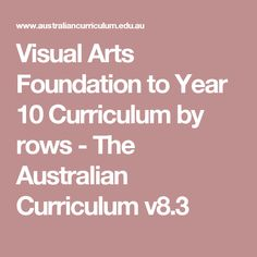 Visual Arts Foundation to Year 10 Curriculum by rows - The Australian Curriculum v8.3