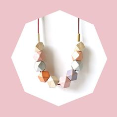 Wood Bead Geometric Necklace / Pastel Pink, Purple, Gold, Silver, Orange & Salmon / Natural Wood Bead Statement Neckalce