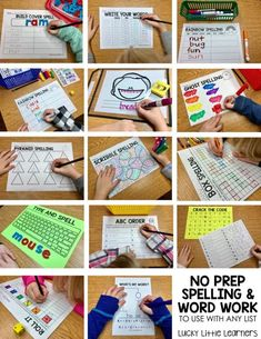 Do you find yourself looking for ways to spice up your word work stations or spelling practice in your classroom? Better yet, are you looking for ways to do this WITHOUT having to prep ANYTHING? These fun, engaging, Spelling Word Practice, Spelling Centers, Spelling Games, Grade Spelling, Spelling Activities, Spelling Words, Literacy Centers, Spelling Ideas, Writing Centers