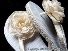 Bridal Flip Flops  Ivory  Chloe by PetalnPearlBoutique on Etsy