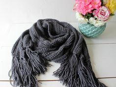 Hand Knit scarf. Handmade. Blue oil color. Extra by CheriDemeter