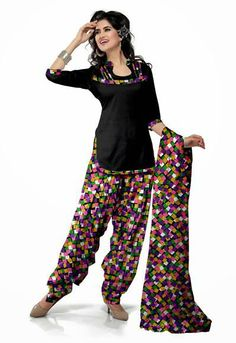 USD 29.49 Black Printed Cotton Punjabi Salwar Kameez 28974