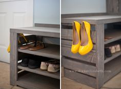 shoe rack with palette wood