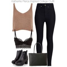 Katherine Pierce Inspired College Outfit by staystronng on Polyvore featuring River Island, Rodarte, Agent Provocateur, college, tvd and KatherinePierce