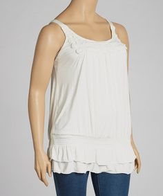 This Ivory Crochet Shirred Blouson Tank - Plus is perfect! #zulilyfinds
