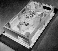 Alison and Peter Smithson, House of the Future: Middle Level Plan (HF5509) showing the arrangement of the furniture, 20 December 1955. Pen and black ink and red ink on drafting film.