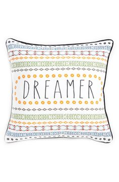 Cute mixed prints add colorful charm to this 'dreamer' pillow.