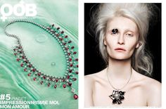 On the last issue of OOB mag features de Grace Camelia's necklace composed of natural black mother-of-pearl and a magnificent 15mm AAA quality white South Sea pearl.