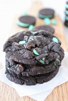 Chocolate Mint Oreo Cookie Recipe on twopeasandtheirpod.com Add these decadent cookies to your holiday baking list!