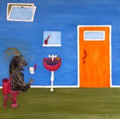 Getabocken på toaletten, pastell. The he- goat on the toilet, pastel.