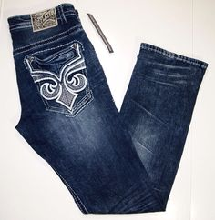 Affliction straight fit men's jeans style name ACE fleur de lis size 33x34 NEW  #Affliction #Relaxed
