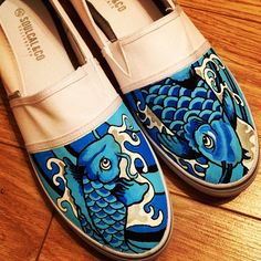 Koi Custom Shoes Japanese Koi Tattoo by TheCustomUnderground