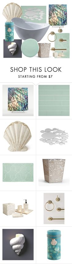 """Mermaid Bathroom"" by nerd-muffin ❤ liked on Polyvore featuring interior, interiors, interior design, home, home decor, interior decorating, WALL, AERIN, Frontgate and Pearl Dragon"