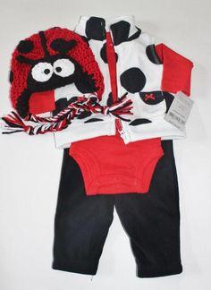 Baby Girls Carter s Ladybug Outfit Set Pants Shirt Vest Crochet Hat NB 3 Mo  6 Mo… 3dc25e51aab