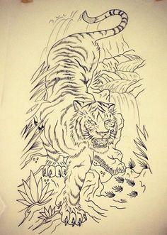 Cloud Tattoo Sleeve, Tiger Tattoo Sleeve, Arm Sleeve Tattoos, Leg Tattoos, Tiger Sketch, Tiger Drawing, Japanese Tiger Tattoo, Japanese Tattoo Designs, Traditional Tiger Tattoo