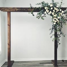 This is a rentable arbor and you can add fresh flowers and drapery to complete your wedding look! This classic white and greenery install looks amazing with the dark wood. arch flowers Indiana Floral Arbor with Greenery Wedding Arbors, Arch Wedding, Wedding Ideas, Wedding Arch With Flowers, Budget Wedding, Wedding Archways, Wood Wedding Arches, Wedding Arch Greenery, Outdoor Wedding Flowers