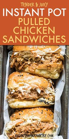 Flavorful Instant Pot Pulled Chicken is easy to make and packs a punch with your favorite BBQ sauce and BBQ rub. This easy Instant Pot BBQ Chicken recipe is the perfect solution for meal prep, freezer meals, potlucks and parties. This BBQ Pulled Chicken makes the best sliders and sandwiches with the secret ingredient- liquid smoke. Click thru to get the best Instant Pot Pulled Chicken Sandwich recipe. #instantpot #instantpotchicken #sliders #pulledchicken #bbqpulledchicken #chicken Pulled Chicken Recipes, Pulled Chicken Sandwiches, Chicken Sandwich Recipes, Bbq Chicken, Healthy Chicken Recipes, Easy Potluck Recipes, Supper Recipes, Lunch Recipes, Entree Recipes