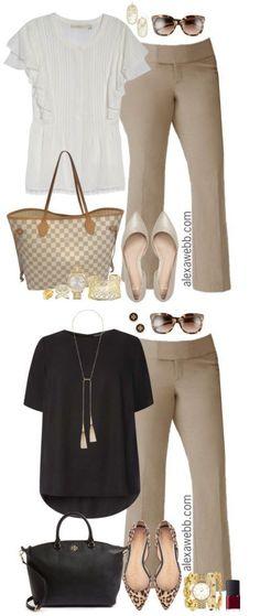 Plus Size Beige Work Pants Outfits - Plus Size Work Outfit - Plus Size Fashion for Women - alexawebb.com