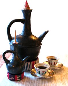 "jebena and cini=Ethiopian ""coffee ceremony"" serving pot"