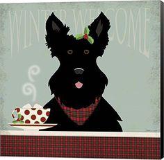 Welcome Scotty dog having tea Christmas illustration art / Scottish terrier