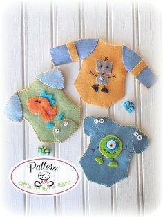 Mini Onesies Set of Three-PDF Sewing Patterns-Baby shower