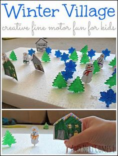 Winter village fine motor activity for kids from And Next Comes L  #CreativeMamas #PlayMatters #KBNMoms