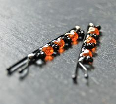 Halloween Wire wrapped bobby pins with orange by LoveandCherish, $12.50