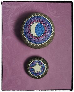 Jewel Drop Mandala Painted Stone Moon and Star by ElspethMcLean