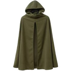 Choies Oliver Green Hooded Wollen Cape Coat ($61) ❤ liked on Polyvore featuring outerwear, coats, cloaks, costume, jackets, cloak coat, cloak cape, cape coat, capes cloaks and brown cloak