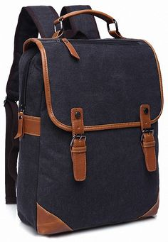 Kenox Vintage College Backpack School Bookbag Canvas Laptop Backpack (Black)