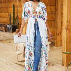 Shyfull Trendy X-long Floral Printed White Coat