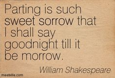 Parting is such sweet sorrow that I shall say goodnight till it be morrow. William Shakespeare