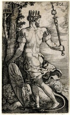 Sol from The Seven Planets. Seen from behind, walking to left, the head in profile to right; crowned, holding a sceptre and a shield in her left hand; a lion on the ground; from a series of seven engravings of the planetary gods as whole-length figures standing in landscapes with symbols of their respective signs of the Zodiac. 1528 Engraving Print made by: Monogrammist IB  School/style: German Date: 1528 Materials: paper Technique: engraving Dimensions: Height: 83 millimetres Width: 49…