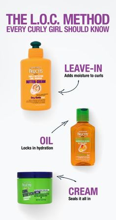 The LOC method is one of our favorite curly hair hacks! Here's what this simple 3 step routine stands for: LEAVE-IN: Garnier Fructis Curl Nourish Butter Cream is formulated for curly hair to provide nourishment & moisture to dry curls. Oil: Sleek & S Curly Hair Routine, Curly Hair Tips, Curly Hair Care, Natural Hair Tips, Natural Hair Journey, Hair Care Tips, Curly Hair Styles, Natural Hair Styles, Products For Curly Hair