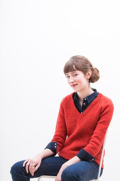 """Cadence textured pullover with sleeve and neckline options by Michele Wang. Shown in color """"Cinnabar"""". From Brooklyn Tweed's """"Winter 16"""" Collection."""