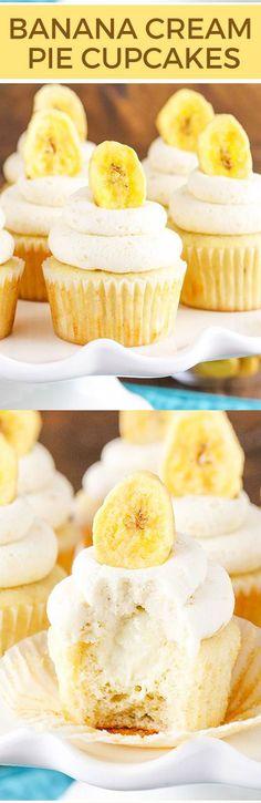 BANANA CREAM PIE CUPCAKES DESSERT RECIPES - dessert, food, recipes