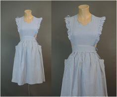 Vintage 1940s Pinafore Dress, fits 33 inch bust, 24 waist, Blue and White Plaid Rayon, Flaws by dandelionvintage on Etsy