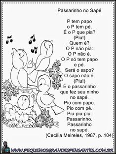 Poesia Passarinho no Sapé - Cecília Meireles Children, Kids, Homeschool, Childhood, Snoopy, Fictional Characters, Poetry For Kids, Children's Literature, Montessori Sensorial
