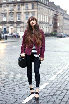 Anoushka Probyn Fashion Blog Suede Jacket Stripes and Black Jeans