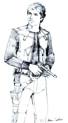 ANH: As the characters were further developed, the Ralph McQuarrie sketches started to look more and more like the characters we see on film. In earlier sketches, Han Solo is an older bearded character that wielded a lightsaber.  Here, a younger Han Solo is shown carrying his trusty blaster.