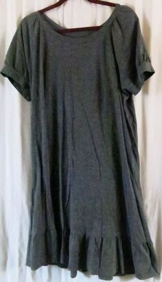 ca3f3af626f40 Faded Glory Dress 2XL Gray Short Sleeve Solid Knee Length Wear to Work   FadedGlory
