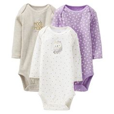 Just One You™Made by Carter's® Newborn Girls' Owl 3 Pack Long-sleeve Bodysuit Set - Purple/Grey.