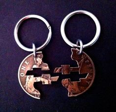 Chevy Bowties Interlocking Coin Key Chain Set by PennyPuzzler Jacked Up Chevy, Jacked Up Trucks, 4x4 Trucks, Diesel Trucks, Cool Trucks, Chevy Trucks, Chevy Pickups, Chevy 4x4, Chevy Stepside