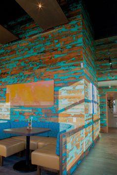 Viridian Reclaimed Wood Paneling Floors Restaurant Tables Granary Plank Colorburst Blue Nando's Tsawassen Canada Portland OR Oregon PDX
