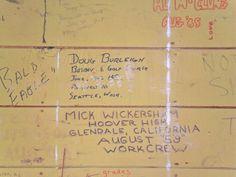 Photo 1 of wall graffiti from Boys old Work Crew quarters when the siding was removed (2013)  #malibu #younglife #malibuclub #ylMalibu #ylMalibuclub