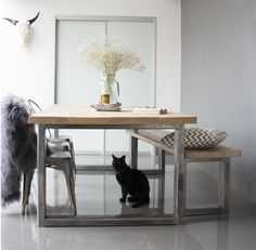 8 SEATER INDUSTRIAL TABLE & BENCH by www.inekohome.co.uk