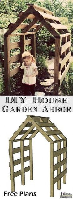 Wood Profit - Woodworking - This house shaped garden arbor is so cute, perfect for my yard. Free DIY plans on @remodelaholic #garden #diy Discover How You Can Start A Woodworking Business From Home Easily in 7 Days With NO Capital Needed!